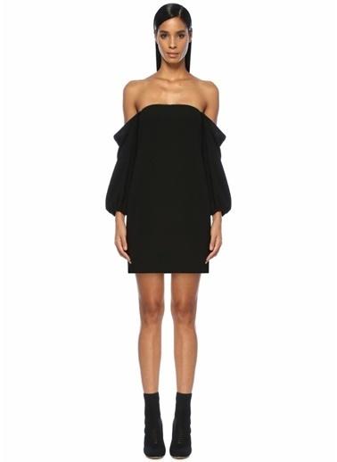 Academia Omzu Açık Boncuk Detaylı Mini Elbise Siyah